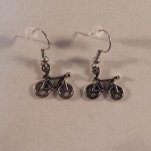 Silver Bicycle Bike Earrings Hypoallergenic Hooks